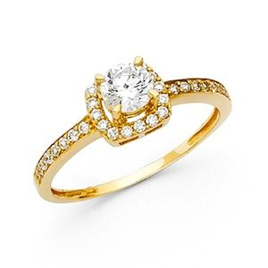 4-Prong Round Halo & Pave Sides CZ Wedding Ring